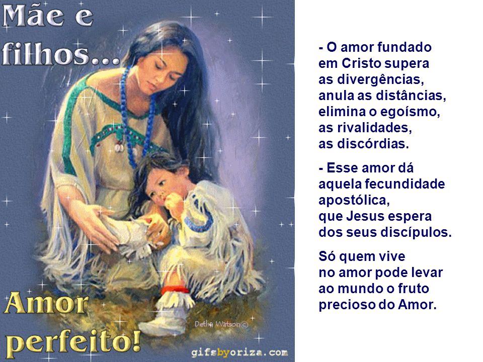 - O amor fundado em Cristo supera as divergências, anula as distâncias, elimina o egoísmo, as rivalidades, as discórdias.