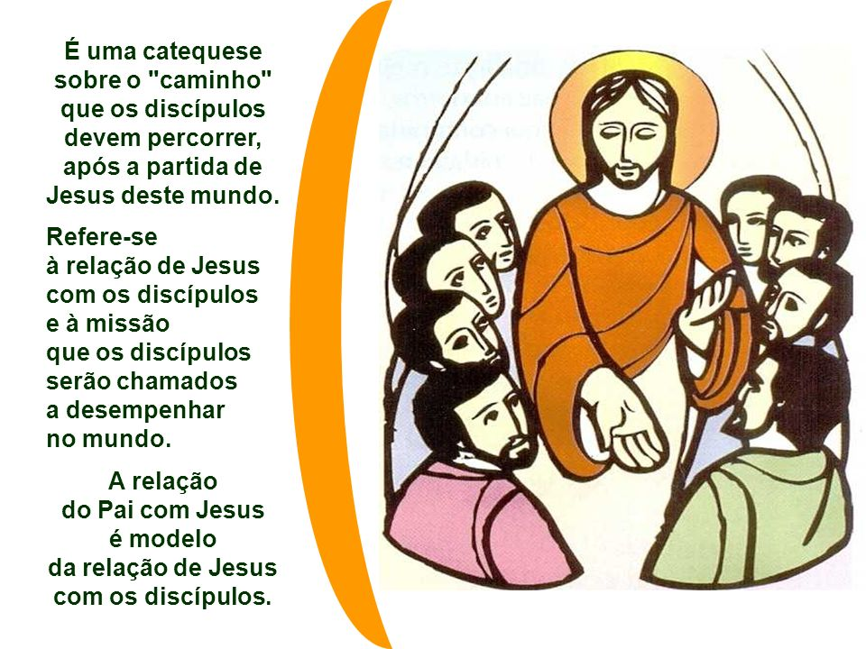No Evangelho, Jesus mostra aos discípulos o caminho: Testemunhar o amor de Deus no meio dos homens. (Jo 15,9-17) O texto faz parte do Discurso da Desp