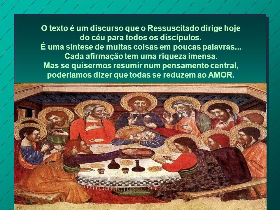 O texto é um discurso que o Ressuscitado dirige hoje do céu para todos os discípulos.