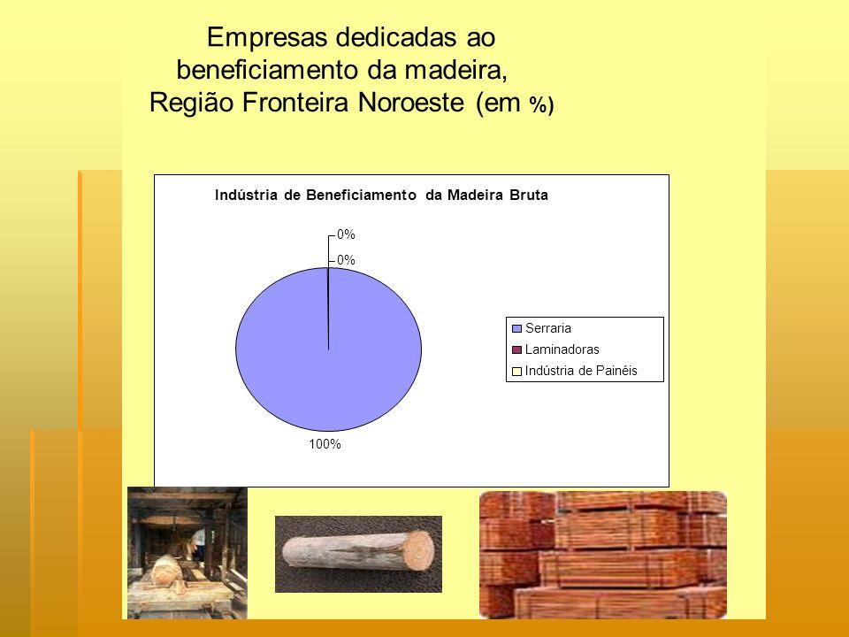 Empresas dedicadas ao beneficiamento da madeira, Região Fronteira Noroeste (em %) Indústria de Beneficiamento da Madeira Bruta 100% 0% Serraria Lamina