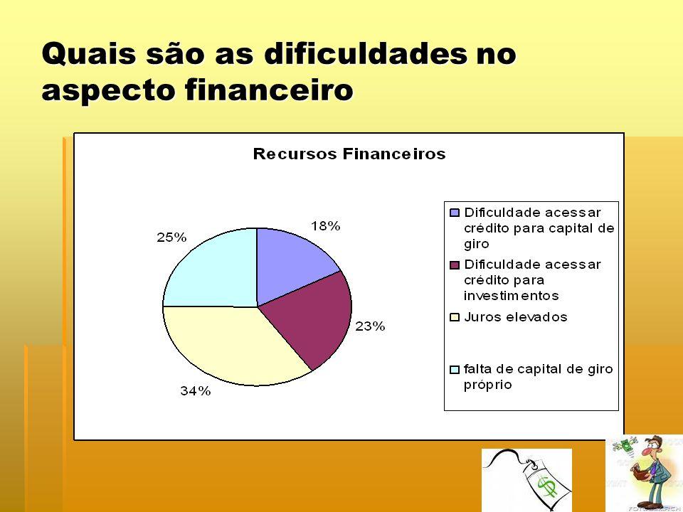 Quais são as dificuldades no aspecto financeiro