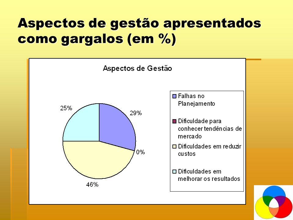 Aspectos de gestão apresentados como gargalos (em %)