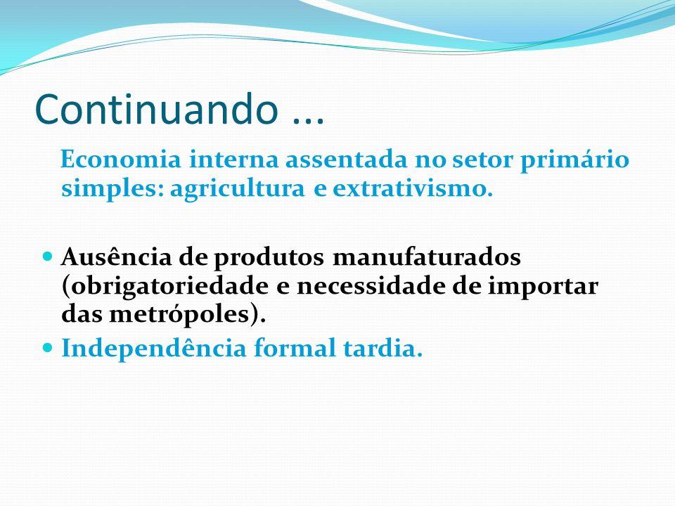 Continuando... Economia interna assentada no setor primário simples: agricultura e extrativismo. Ausência de produtos manufaturados (obrigatoriedade e