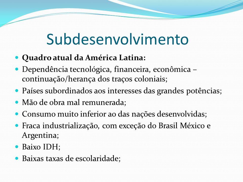 Subdesenvolvimento Quadro atual da América Latina: Dependência tecnológica, financeira, econômica – continuação/herança dos traços coloniais; Países s