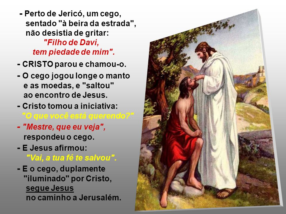 A 2ª Leitura destaca que Jesus é o Sumo Sacerdote, mediador entre Deus e a Humanidade. (Hb 5,1-6) No Evangelho, Jesus dá a um cego a luz da visão e da