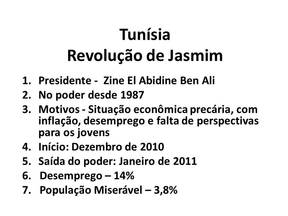 Tunísia Revolução de Jasmim 1.Presidente - Zine El Abidine Ben Ali 2.No poder desde 1987 3.Motivos - Situação econômica precária, com inflação, desemprego e falta de perspectivas para os jovens 4.Início: Dezembro de 2010 5.Saída do poder: Janeiro de 2011 6.