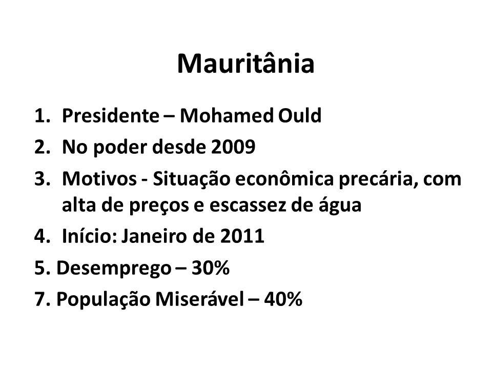 Mauritânia 1.Presidente – Mohamed Ould 2.No poder desde 2009 3.Motivos - Situação econômica precária, com alta de preços e escassez de água 4.Início: Janeiro de 2011 5.