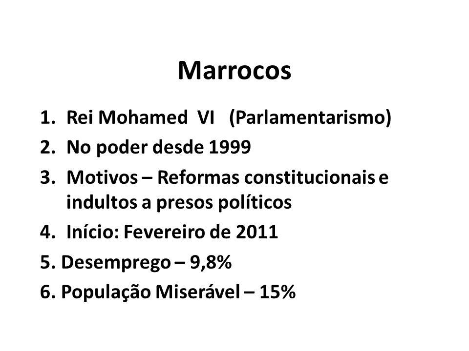 Marrocos 1.Rei Mohamed VI (Parlamentarismo) 2.No poder desde 1999 3.Motivos – Reformas constitucionais e indultos a presos políticos 4.Início: Fevereiro de 2011 5.