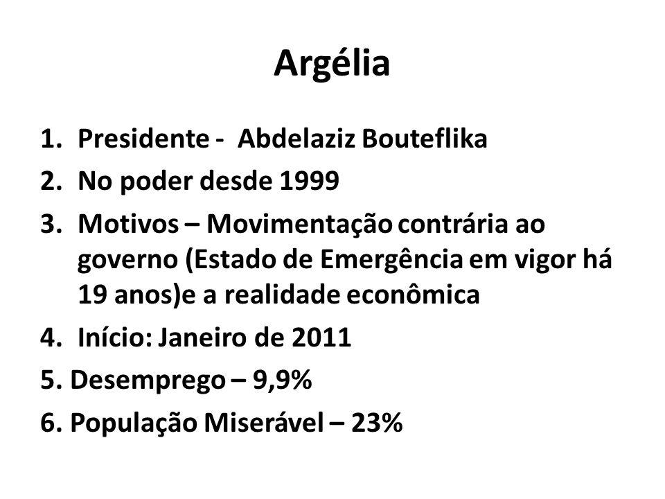Argélia 1.Presidente - Abdelaziz Bouteflika 2.No poder desde 1999 3.Motivos – Movimentação contrária ao governo (Estado de Emergência em vigor há 19 anos)e a realidade econômica 4.Início: Janeiro de 2011 5.