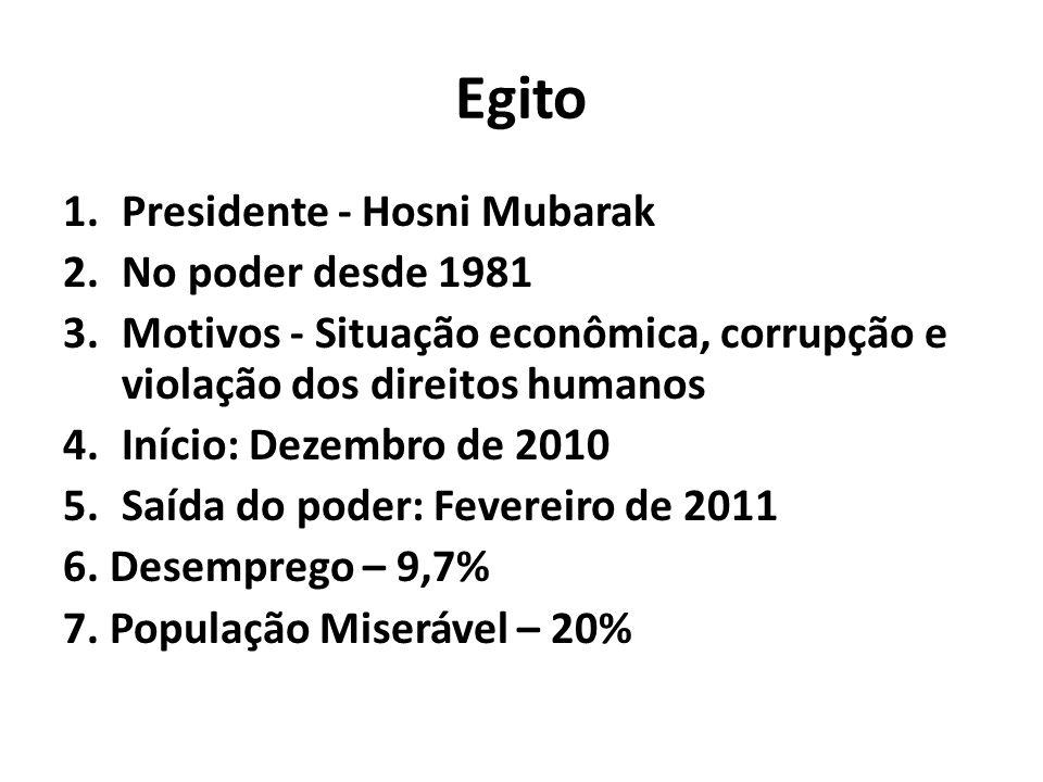 Egito 1.Presidente - Hosni Mubarak 2.No poder desde 1981 3.Motivos - Situação econômica, corrupção e violação dos direitos humanos 4.Início: Dezembro de 2010 5.Saída do poder: Fevereiro de 2011 6.