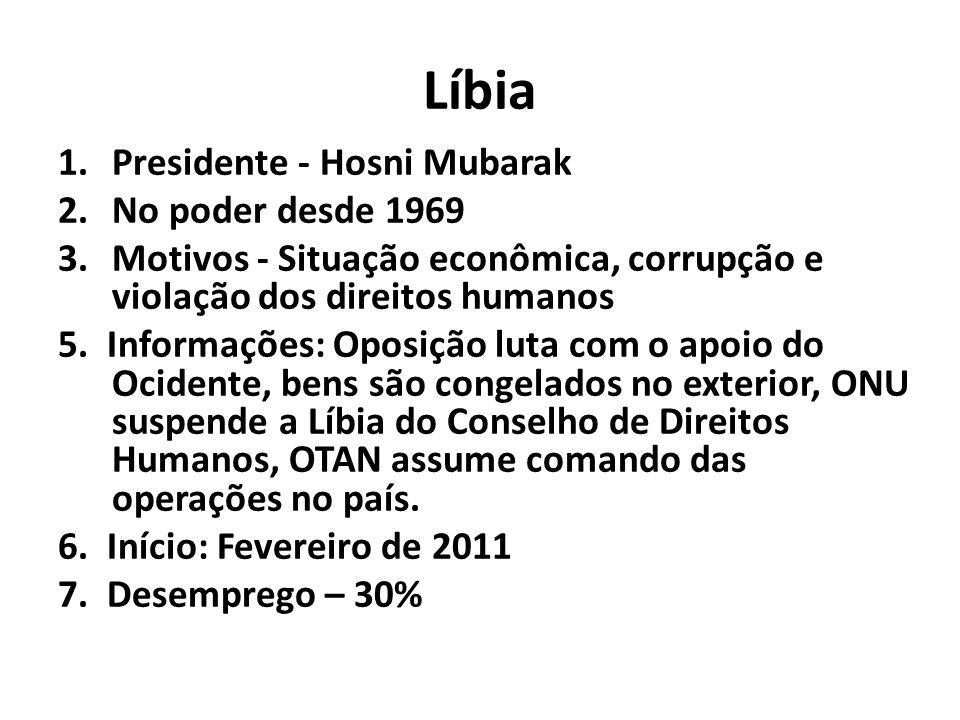 Líbia 1.Presidente - Hosni Mubarak 2.No poder desde 1969 3.Motivos - Situação econômica, corrupção e violação dos direitos humanos 5. Informações: Opo