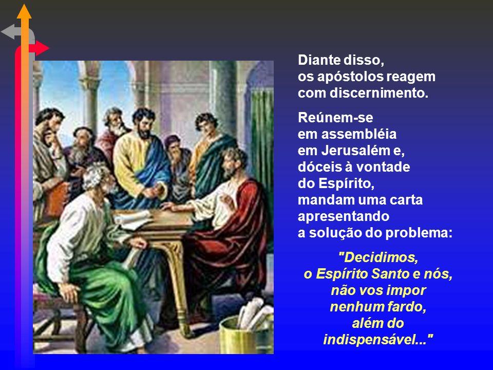 Na 1ª leitura, vemos a sua presença através do Espírito Santo, que conduz a Igreja no primeiro grande conflito. (At 15,1-2.22-29) Com a entrada dos pa