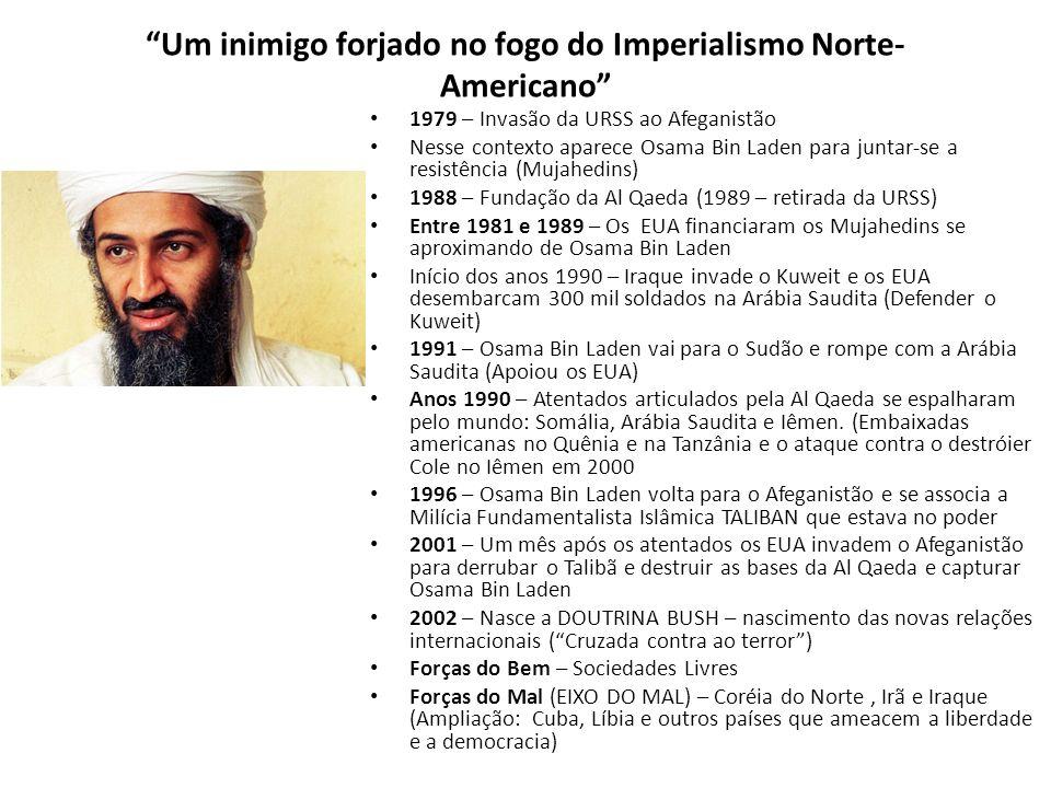 Um inimigo forjado no fogo do Imperialismo Norte- Americano 1979 – Invasão da URSS ao Afeganistão Nesse contexto aparece Osama Bin Laden para juntar-s