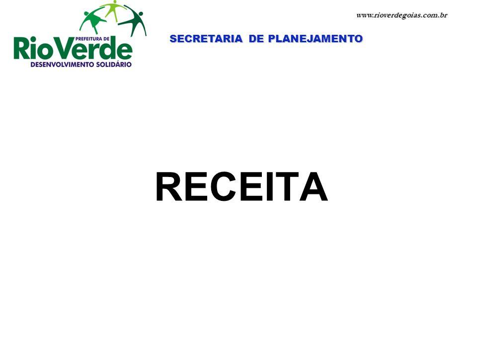 www.rioverdegoias.com.br SECRETARIA DE PLANEJAMENTO RECEITA