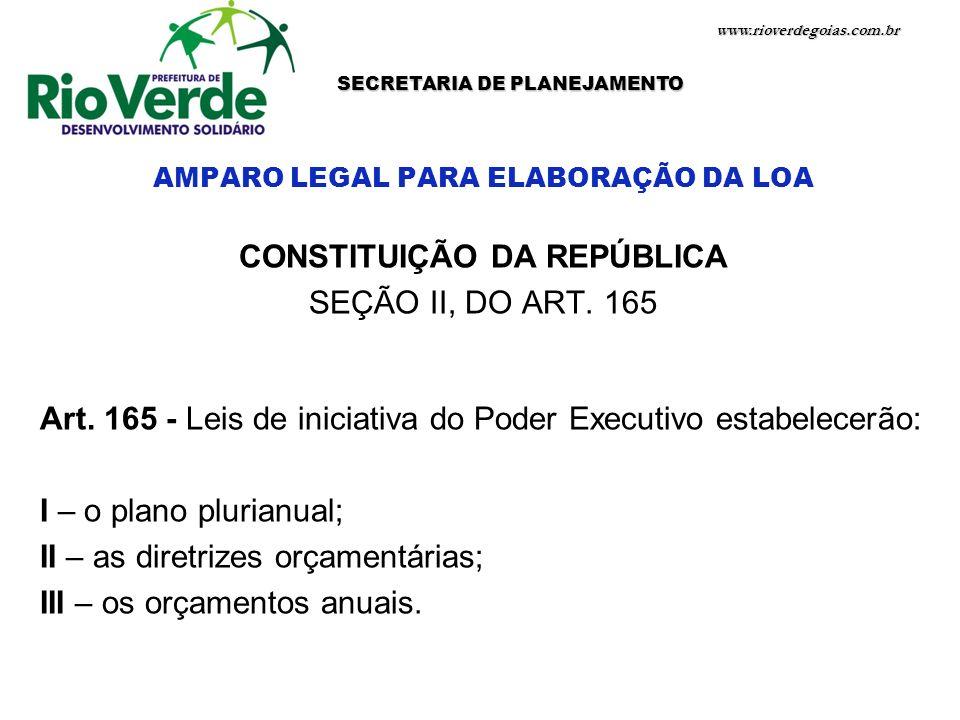 www.rioverdegoias.com.br SECRETARIA DE PLANEJAMENTO AMPARO LEGAL PARA ELABORAÇÃO DA LOA CONSTITUIÇÃO DA REPÚBLICA SEÇÃO II, DO ART. 165 Art. 165 - Lei