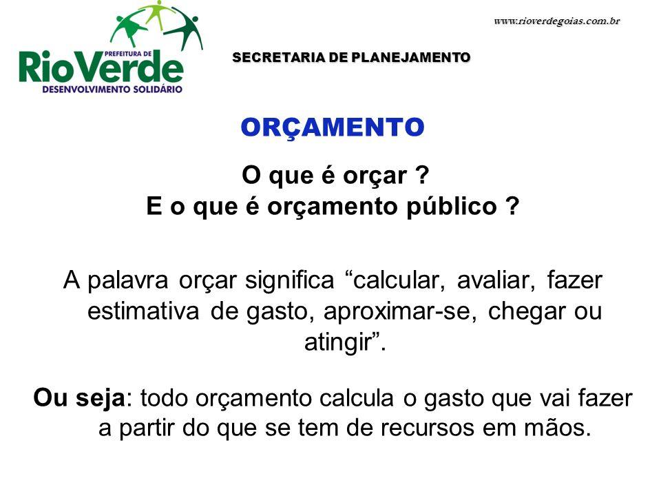 www.rioverdegoias.com.br SECRETARIA DE PLANEJAMENTO ORÇAMENTO O que é orçar ? E o que é orçamento público ? A palavra orçar significa calcular, avalia