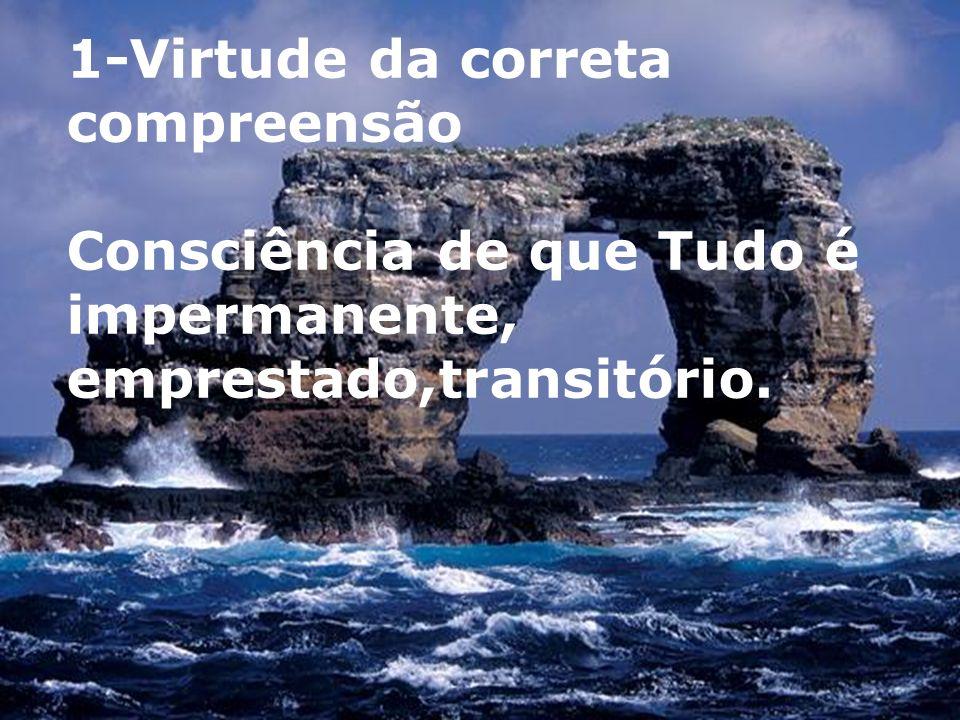 1-Virtude da correta compreensão Consciência de que Tudo é impermanente, emprestado,transitório.