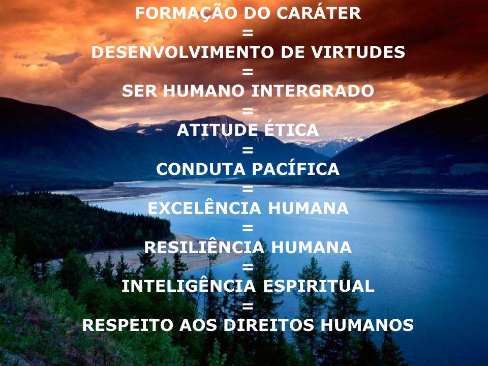 FORMAÇÃO DO CARÁTER = DESENVOLVIMENTO DE VIRTUDES = SER HUMANO INTERGRADO = ATITUDE ÉTICA = CONDUTA PACÍFICA = EXCELÊNCIA HUMANA = RESILIÊNCIA HUMANA = INTELIGÊNCIA ESPIRITUAL = RESPEITO AOS DIREITOS HUMANOS