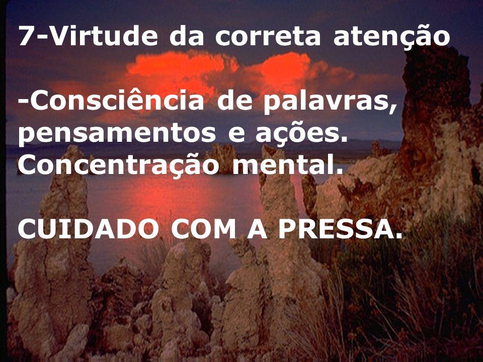 7-Virtude da correta atenção -Consciência de palavras, pensamentos e ações.