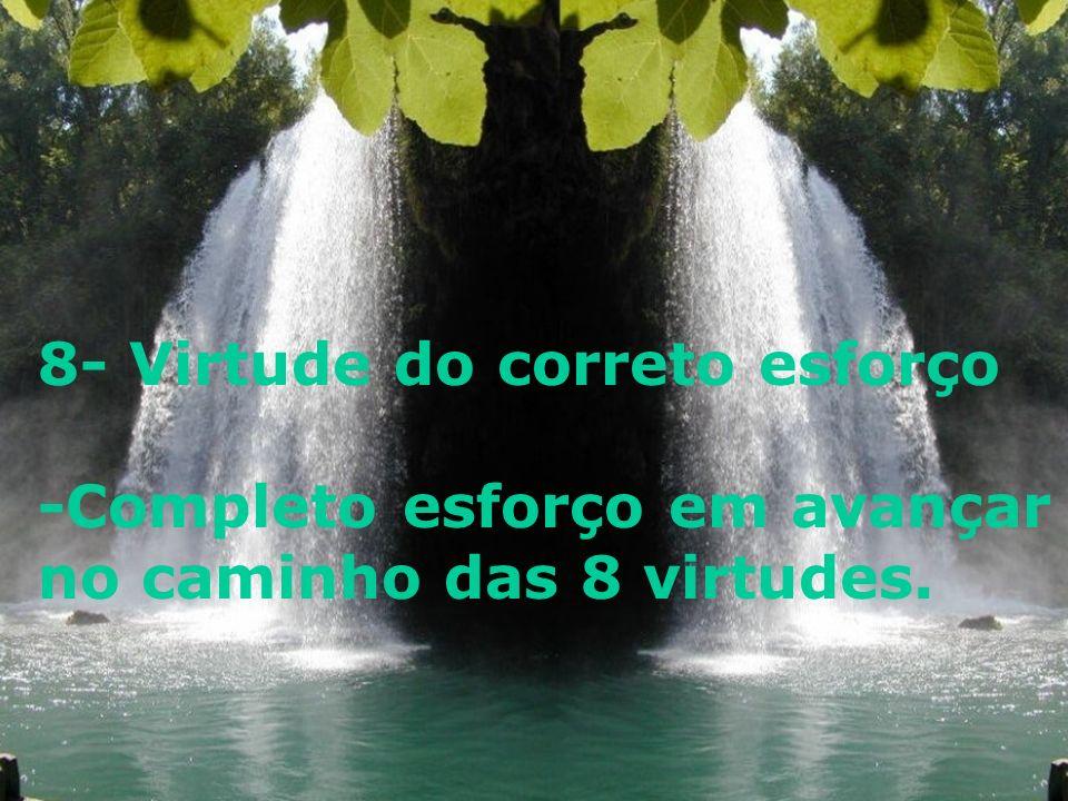 8- Virtude do correto esforço -Completo esforço em avançar no caminho das 8 virtudes.