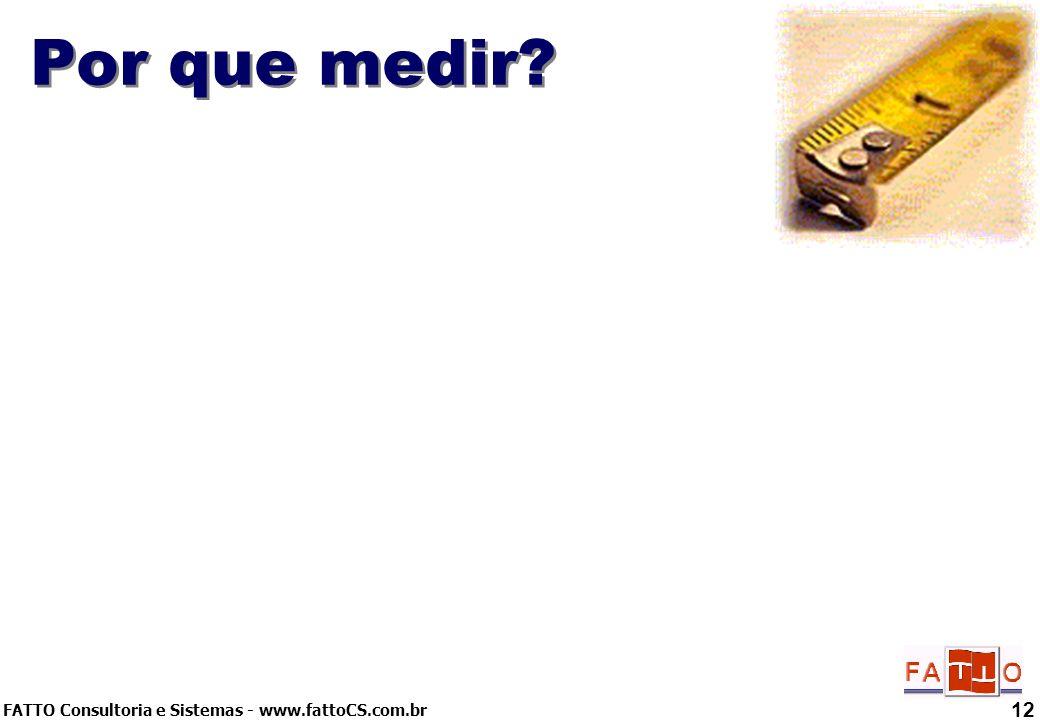 FATTO Consultoria e Sistemas - www.fattoCS.com.br 12 Por que medir?