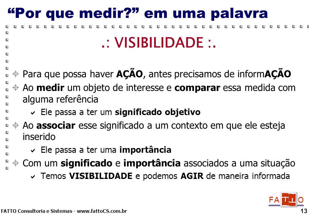 FATTO Consultoria e Sistemas - www.fattoCS.com.br 13 Por que medir? em uma palavra.: VISIBILIDADE :. Para que possa haver AÇÃO, antes precisamos de in