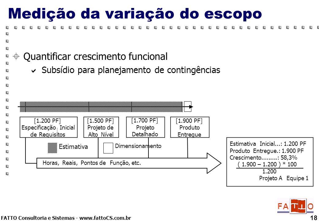 FATTO Consultoria e Sistemas - www.fattoCS.com.br Quantificar crescimento funcional Subsídio para planejamento de contingências 18 Medição da variação