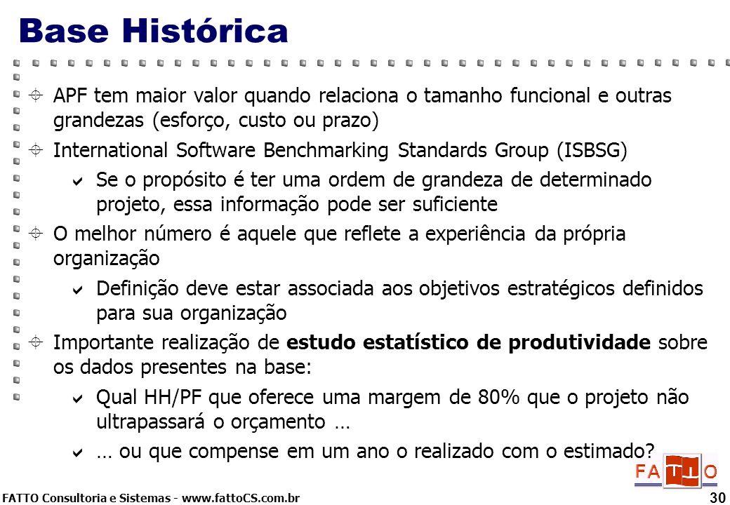 FATTO Consultoria e Sistemas - www.fattoCS.com.br 30 Base Histórica APF tem maior valor quando relaciona o tamanho funcional e outras grandezas (esfor