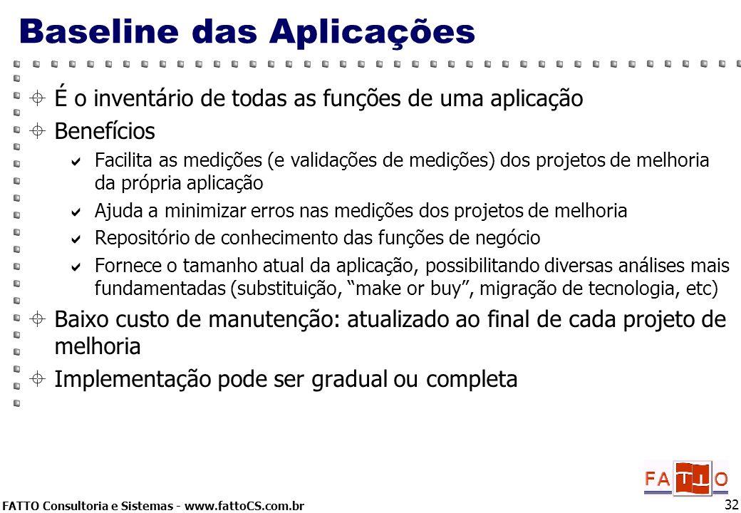 FATTO Consultoria e Sistemas - www.fattoCS.com.br 32 Baseline das Aplicações É o inventário de todas as funções de uma aplicação Benefícios Facilita a