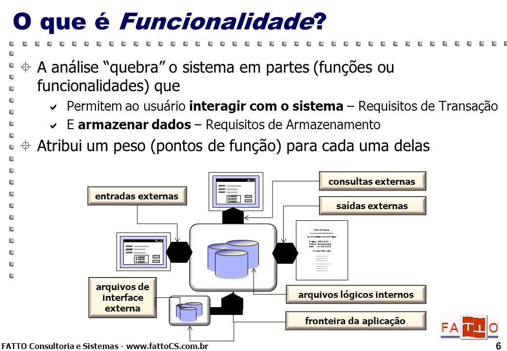 FATTO Consultoria e Sistemas - www.fattoCS.com.br A análise quebra o sistema em partes (funções ou funcionalidades) que Permitem ao usuário interagir