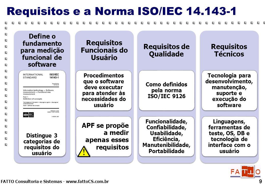 FATTO Consultoria e Sistemas - www.fattoCS.com.br 9 Requisitos e a Norma ISO/IEC 14.143-1 Define o fundamento para medição funcional de software Disti