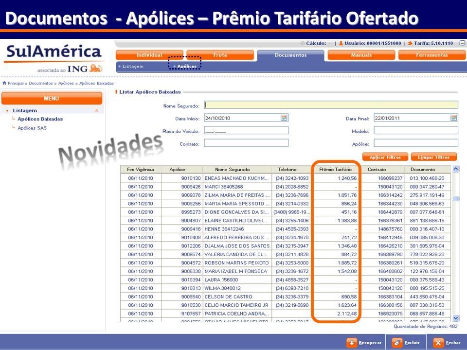 110 Documentos - Apólices – Prêmio Tarifário Ofertado