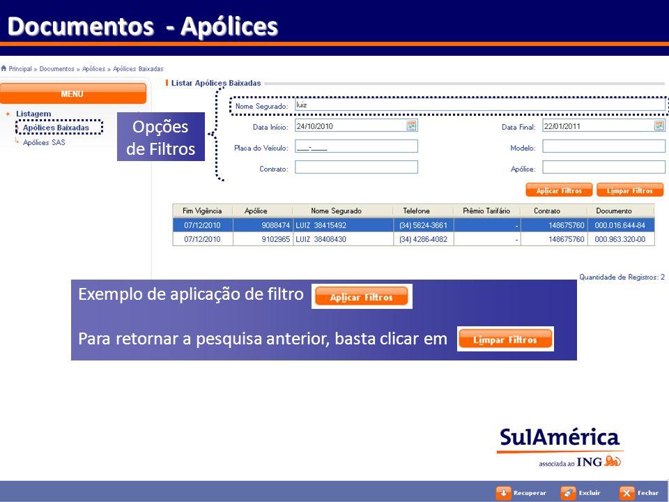 113 Documentos - Apólices Exemplo de aplicação de filtro Para retornar a pesquisa anterior, basta clicar em Opções de Filtros