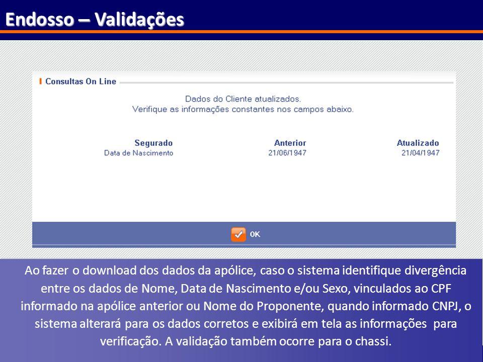121 Endosso – Validações Ao fazer o download dos dados da apólice, caso o sistema identifique divergência entre os dados de Nome, Data de Nascimento e