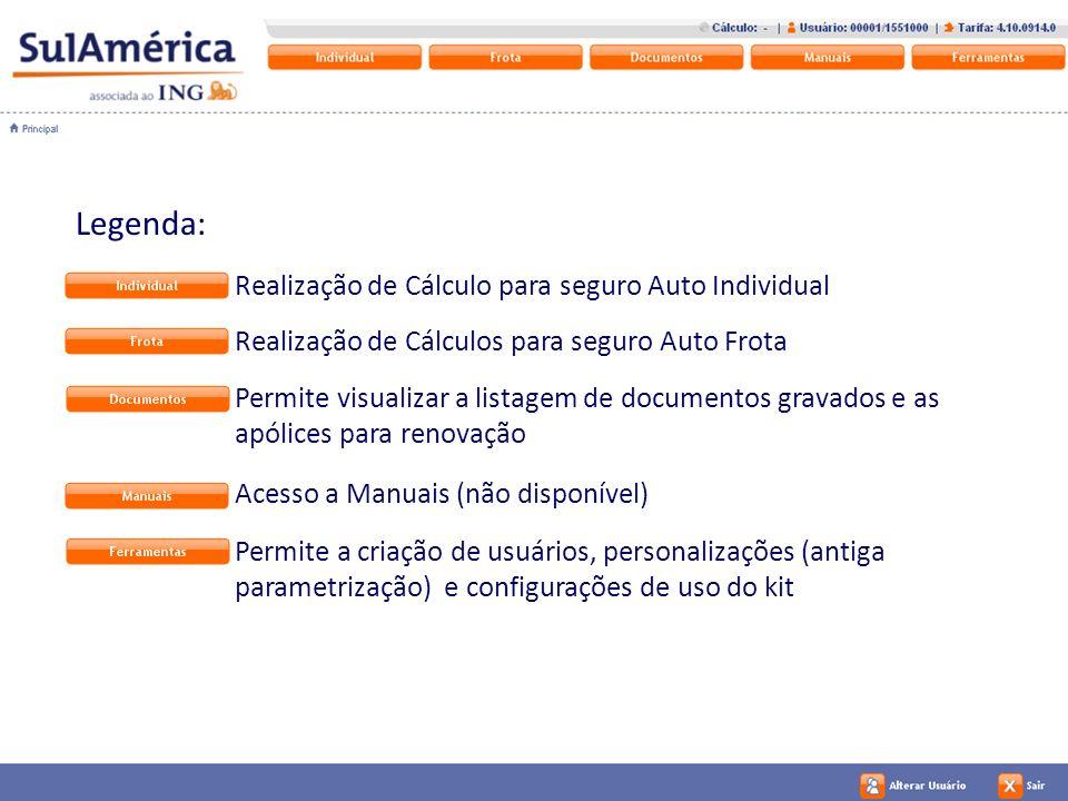 14 Legenda: Realização de Cálculo para seguro Auto Individual Realização de Cálculos para seguro Auto Frota Permite visualizar a listagem de documento