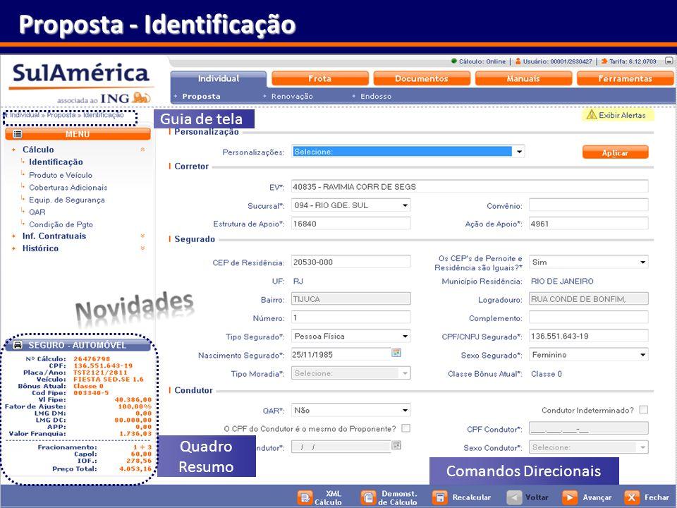 16 Proposta - Identificação Quadro Resumo Comandos Direcionais Guia de tela