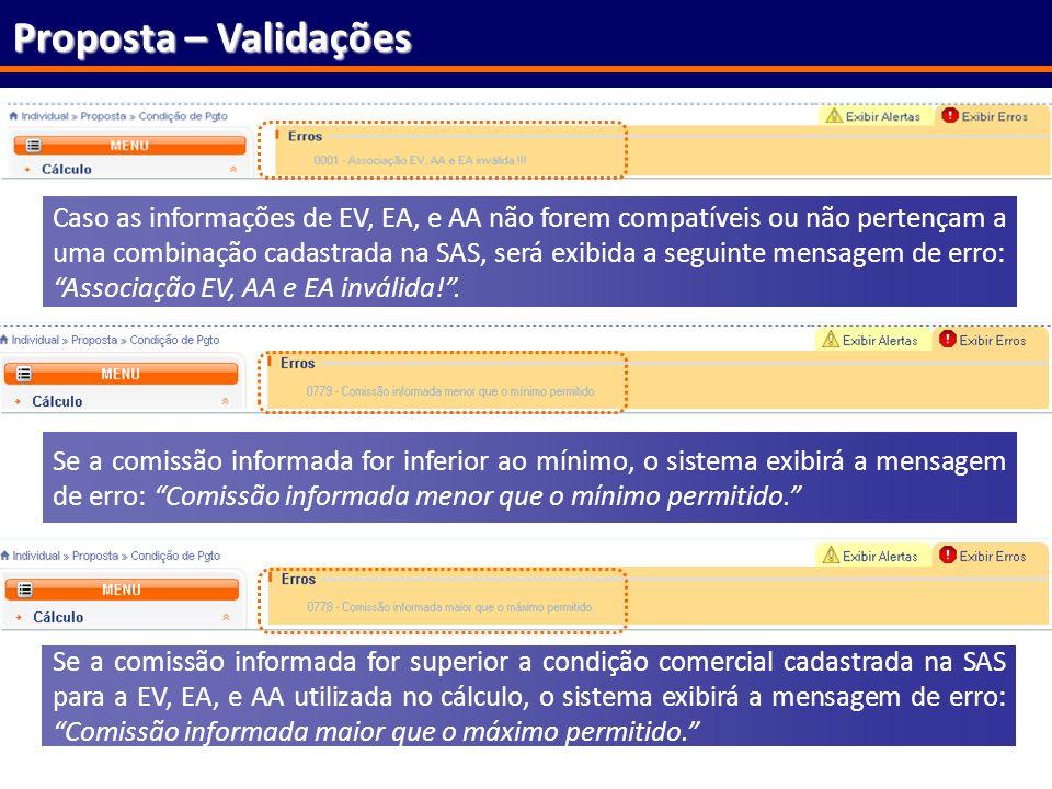 61 Proposta – Validações Caso as informações de EV, EA, e AA não forem compatíveis ou não pertençam a uma combinação cadastrada na SAS, será exibida a