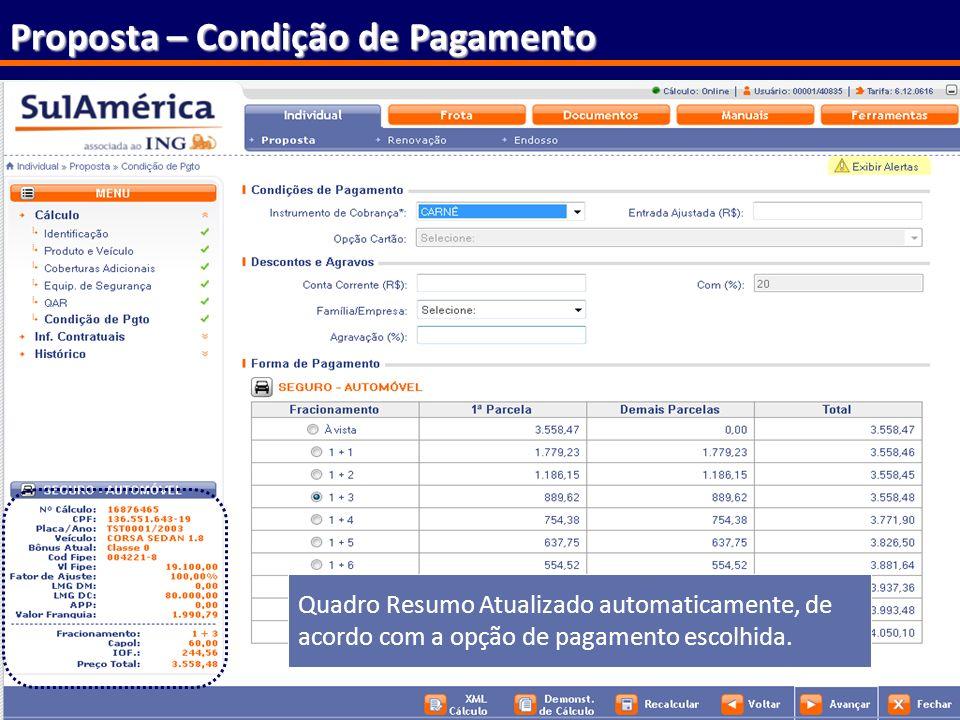 65 Proposta – Condição de Pagamento Quadro Resumo Atualizado automaticamente, de acordo com a opção de pagamento escolhida.