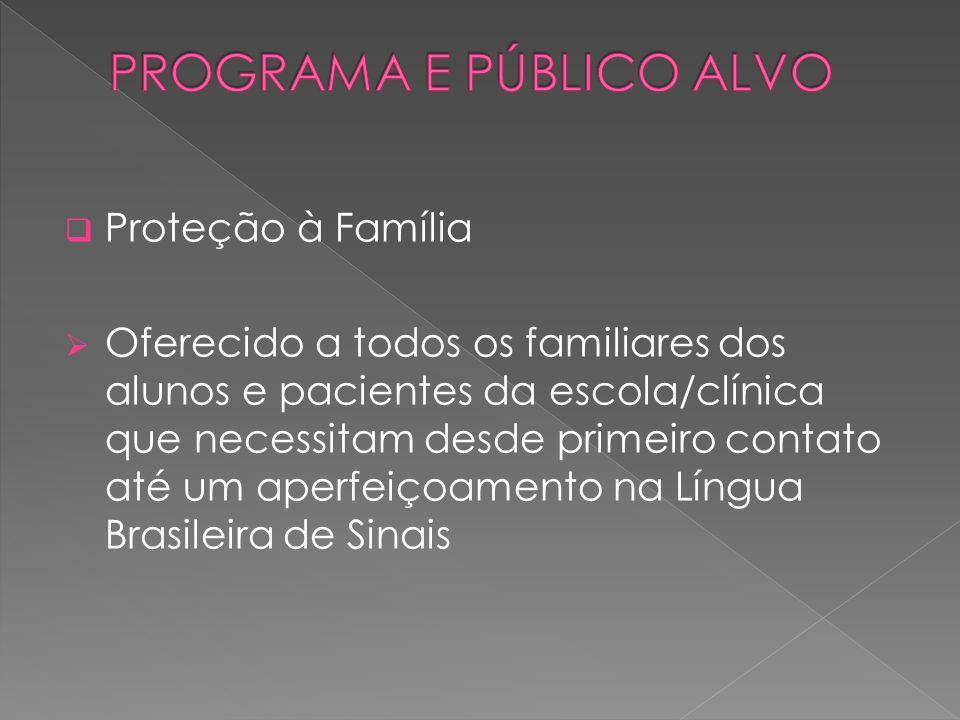 Proteção à Família Oferecido a todos os familiares dos alunos e pacientes da escola/clínica que necessitam desde primeiro contato até um aperfeiçoamen