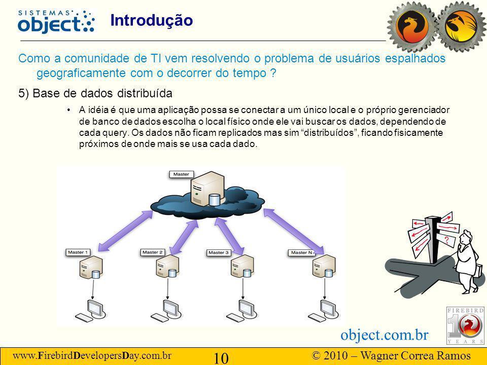 www.FirebirdDevelopersDay.com.br © 2010 – Wagner Correa Ramos 10 object.com.br Introdução Como a comunidade de TI vem resolvendo o problema de usuários espalhados geograficamente com o decorrer do tempo .