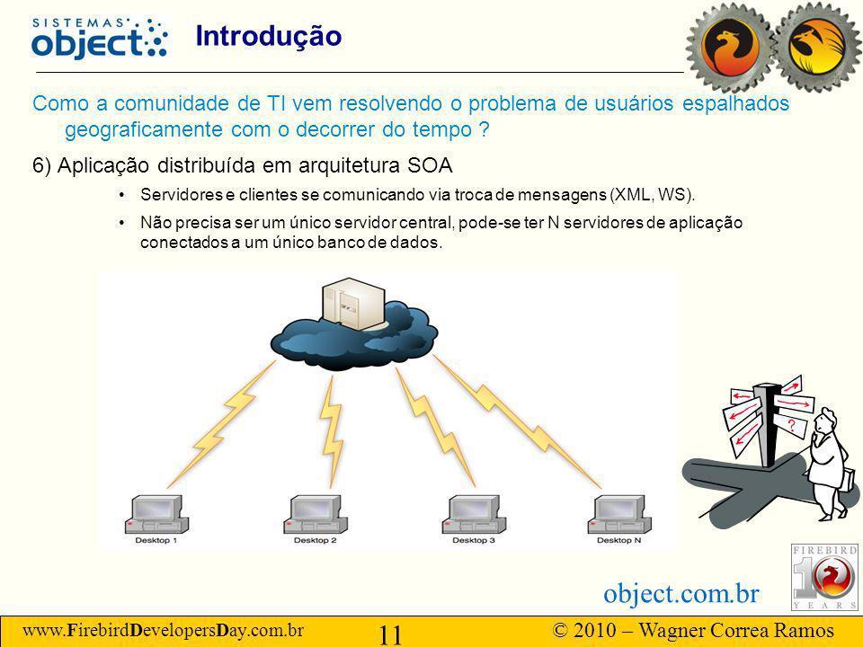 www.FirebirdDevelopersDay.com.br © 2010 – Wagner Correa Ramos 11 object.com.br Introdução Como a comunidade de TI vem resolvendo o problema de usuários espalhados geograficamente com o decorrer do tempo .
