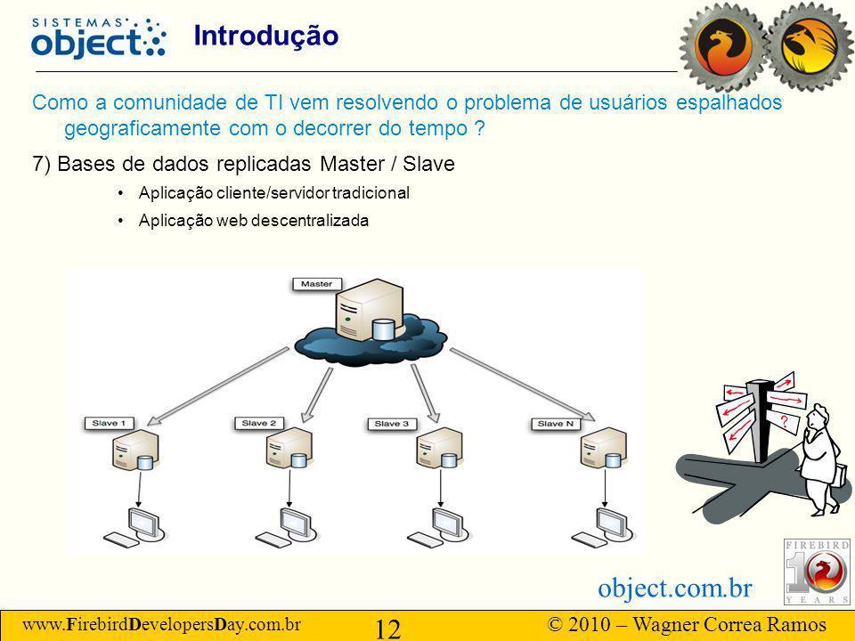www.FirebirdDevelopersDay.com.br © 2010 – Wagner Correa Ramos 12 object.com.br Introdução Como a comunidade de TI vem resolvendo o problema de usuários espalhados geograficamente com o decorrer do tempo .