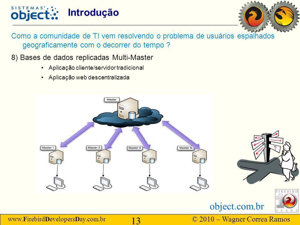 www.FirebirdDevelopersDay.com.br © 2010 – Wagner Correa Ramos 13 object.com.br Introdução Como a comunidade de TI vem resolvendo o problema de usuários espalhados geograficamente com o decorrer do tempo .