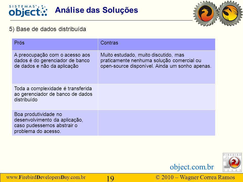 www.FirebirdDevelopersDay.com.br © 2010 – Wagner Correa Ramos 19 object.com.br Análise das Soluções 5) Base de dados distribuída PrósContras A preocupação com o acesso aos dados é do gerenciador de banco de dados e não da aplicação Muito estudado, muito discutido, mas praticamente nenhuma solução comercial ou open-source disponível.
