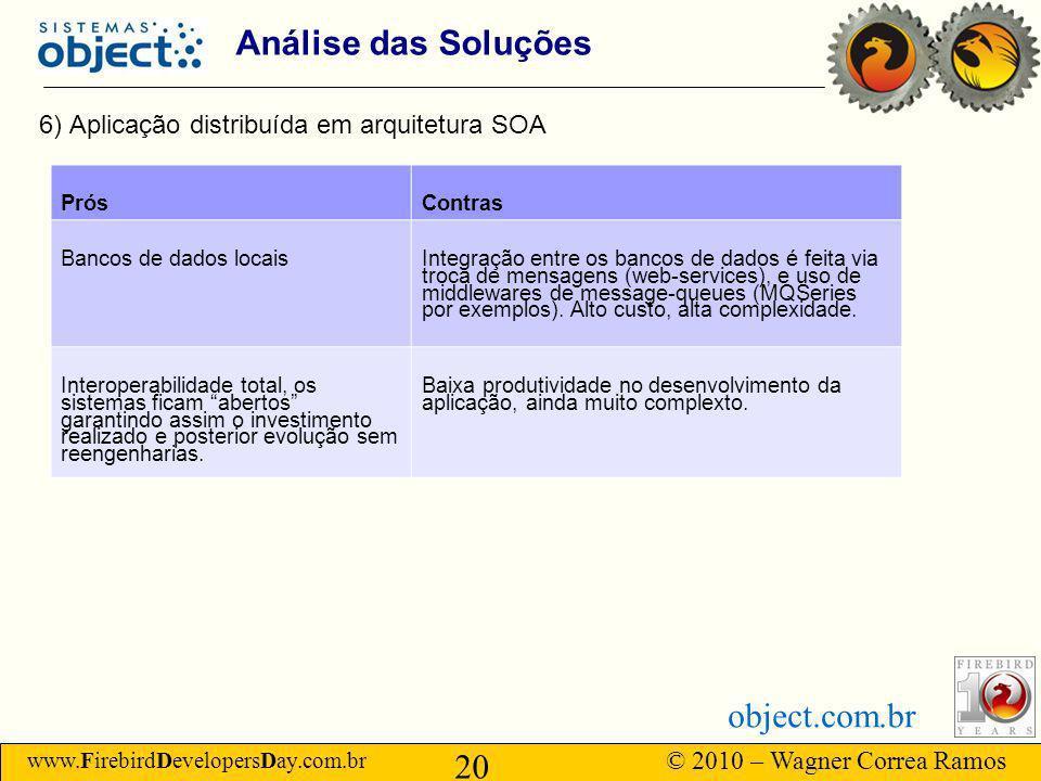 www.FirebirdDevelopersDay.com.br © 2010 – Wagner Correa Ramos 20 object.com.br Análise das Soluções 6) Aplicação distribuída em arquitetura SOA PrósContras Bancos de dados locais Integração entre os bancos de dados é feita via troca de mensagens (web-services), e uso de middlewares de message-queues (MQSeries por exemplos).