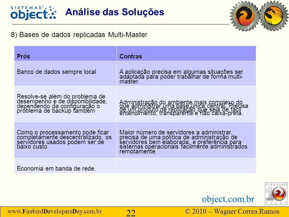 www.FirebirdDevelopersDay.com.br © 2010 – Wagner Correa Ramos 22 object.com.br Análise das Soluções 8) Bases de dados replicadas Multi-Master PrósContras Banco de dados sempre local A aplicação precisa em algumas situações ser adaptada para poder trabalhar de forma multi- master.