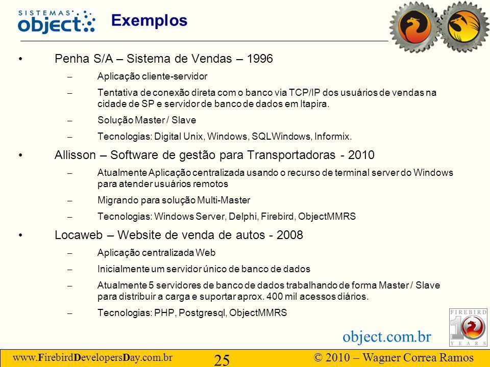www.FirebirdDevelopersDay.com.br © 2010 – Wagner Correa Ramos 25 object.com.br Exemplos Penha S/A – Sistema de Vendas – 1996 – Aplicação cliente-servidor – Tentativa de conexão direta com o banco via TCP/IP dos usuários de vendas na cidade de SP e servidor de banco de dados em Itapira.