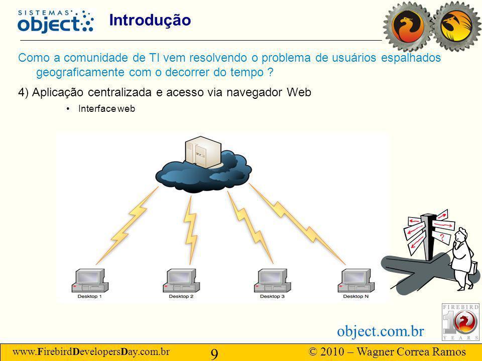 www.FirebirdDevelopersDay.com.br © 2010 – Wagner Correa Ramos 9 object.com.br Introdução Como a comunidade de TI vem resolvendo o problema de usuários espalhados geograficamente com o decorrer do tempo .