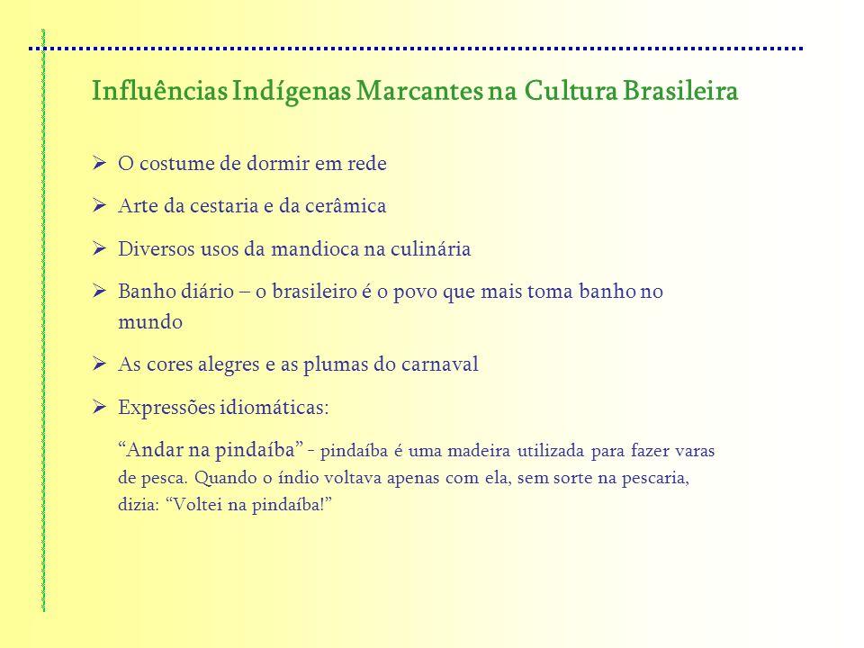 Influências Indígenas Marcantes na Cultura Brasileira O costume de dormir em rede Arte da cestaria e da cerâmica Diversos usos da mandioca na culinári