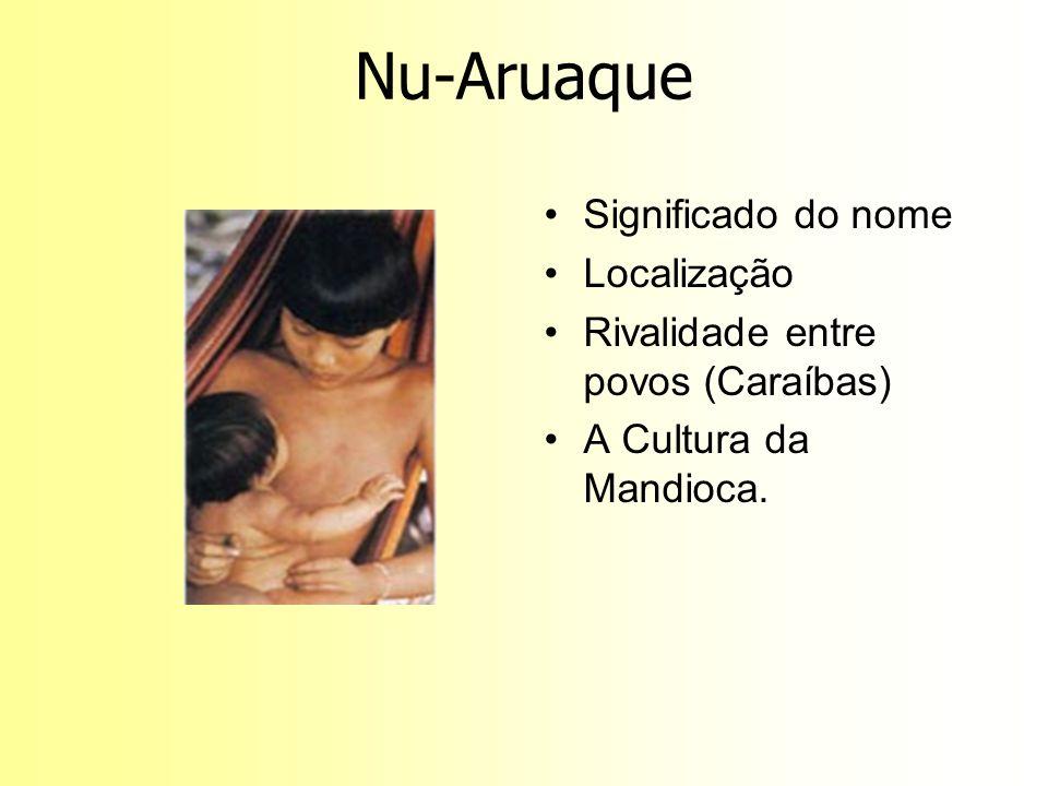 Nu-Aruaque Significado do nome Localização Rivalidade entre povos (Caraíbas) A Cultura da Mandioca.